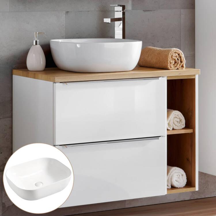 Badezimmer Waschtisch Set mit 60cm Keramik-Aufsatzwaschbecken TOSKANA-