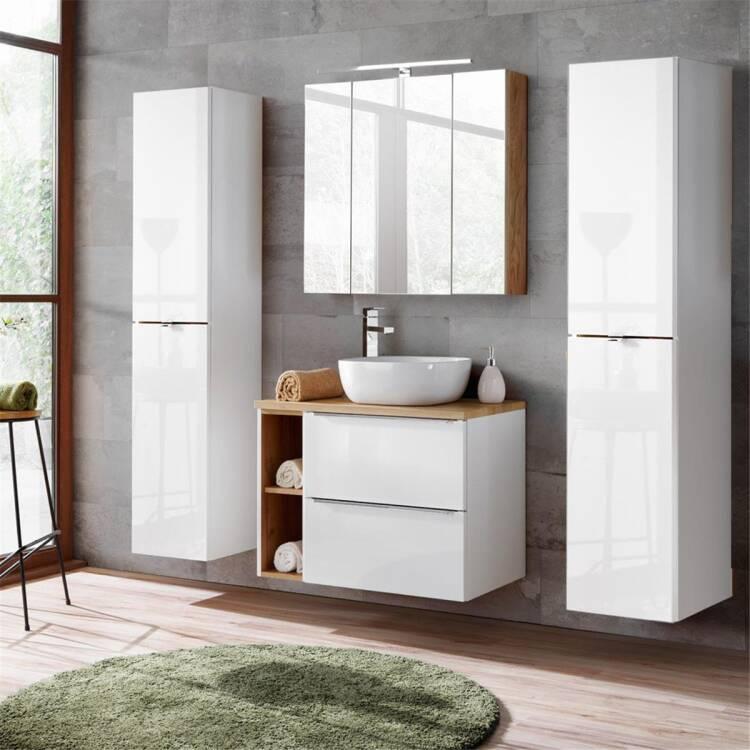 Badezimmermöbel Set mit LED-Spiegelschrank TOSKANA-56 weiß Hochglanz,