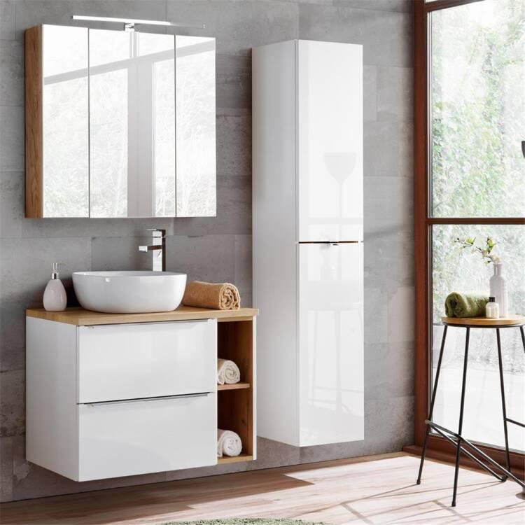 Badmöbel Set mit Keramik-Aufsatzwaschbecken TOSKANA-56 Hochglanz weiß