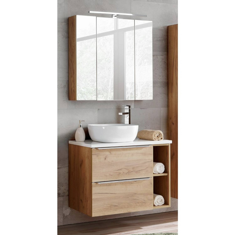 Badmöbel Set mit Keramikbecken un LED-Spiegelschrank TOSKANA-56 Wotaneiche/Hochglanz weiß BxHxT ca. 80/190/46cm
