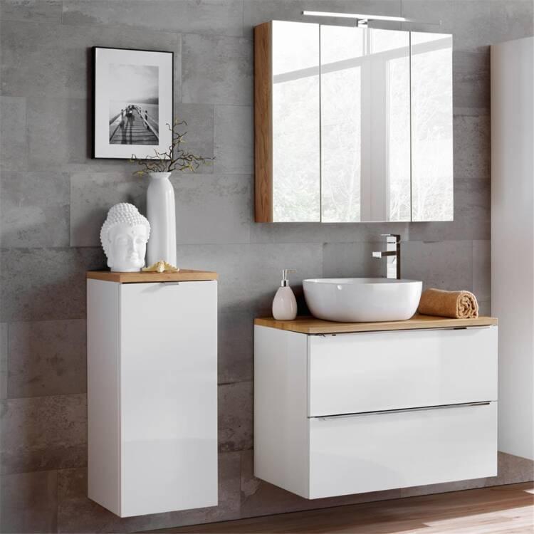 Badezimmermöbel Set mit LED-Spiegelschrank TOSKANA-56 weiß Hochglanz &