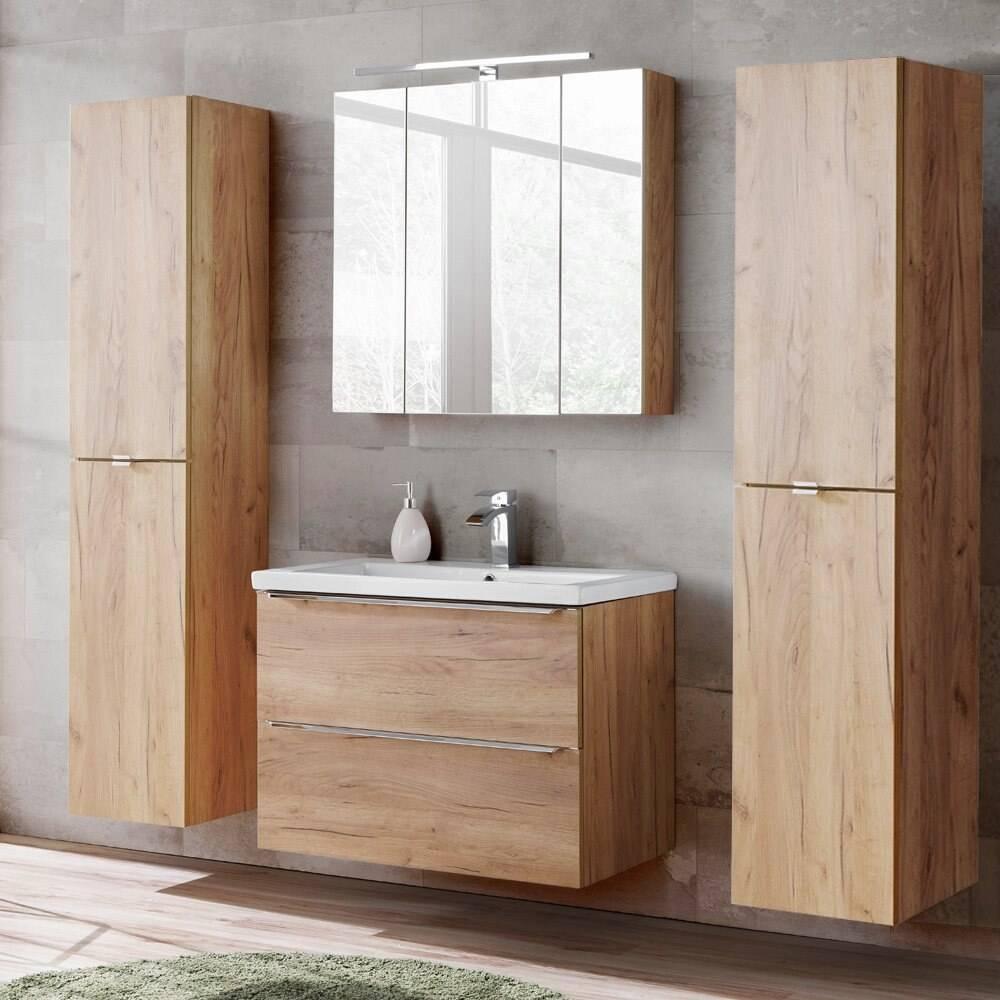 Badezimmermöbel Set mit 2x Hochschrank & LED-Spiegelschrank TOSKANA-56 Wotaneiche & weiß Hochglanz, BxHxT ca. 190/190/46cm