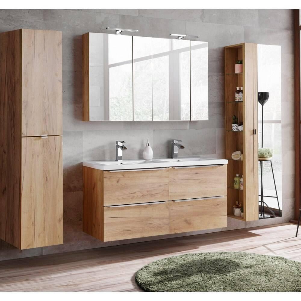 Badmöbel Set mit Doppel-Waschtisch inkl. Doppel-Keramikbecken TOSKANA-56 Wotaneiche, BxHxT ca. 240/190/46cm