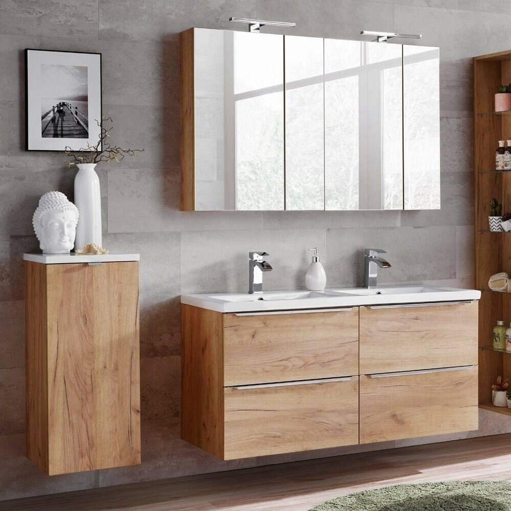 Badmöbel Set mit Doppel-Waschtisch, inkl. 2 Spiegelschränken TOSKANA-56 Wotaneiche/Hochglanz weiß BxHxT ca. 175/190/46cm