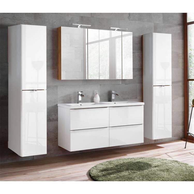 Badmöbel Set mit Doppel-Waschtisch inkl. Keramik-Doppelbecken TOSKANA-