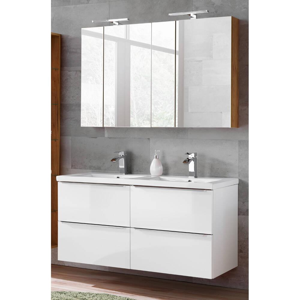 Badmöbel Set in Hochglanz weiß mit Doppel-Keramik-Waschtisch und 2 Spiegelschränken TOSKANA-56 BxHxT ca. 120/190/46cm