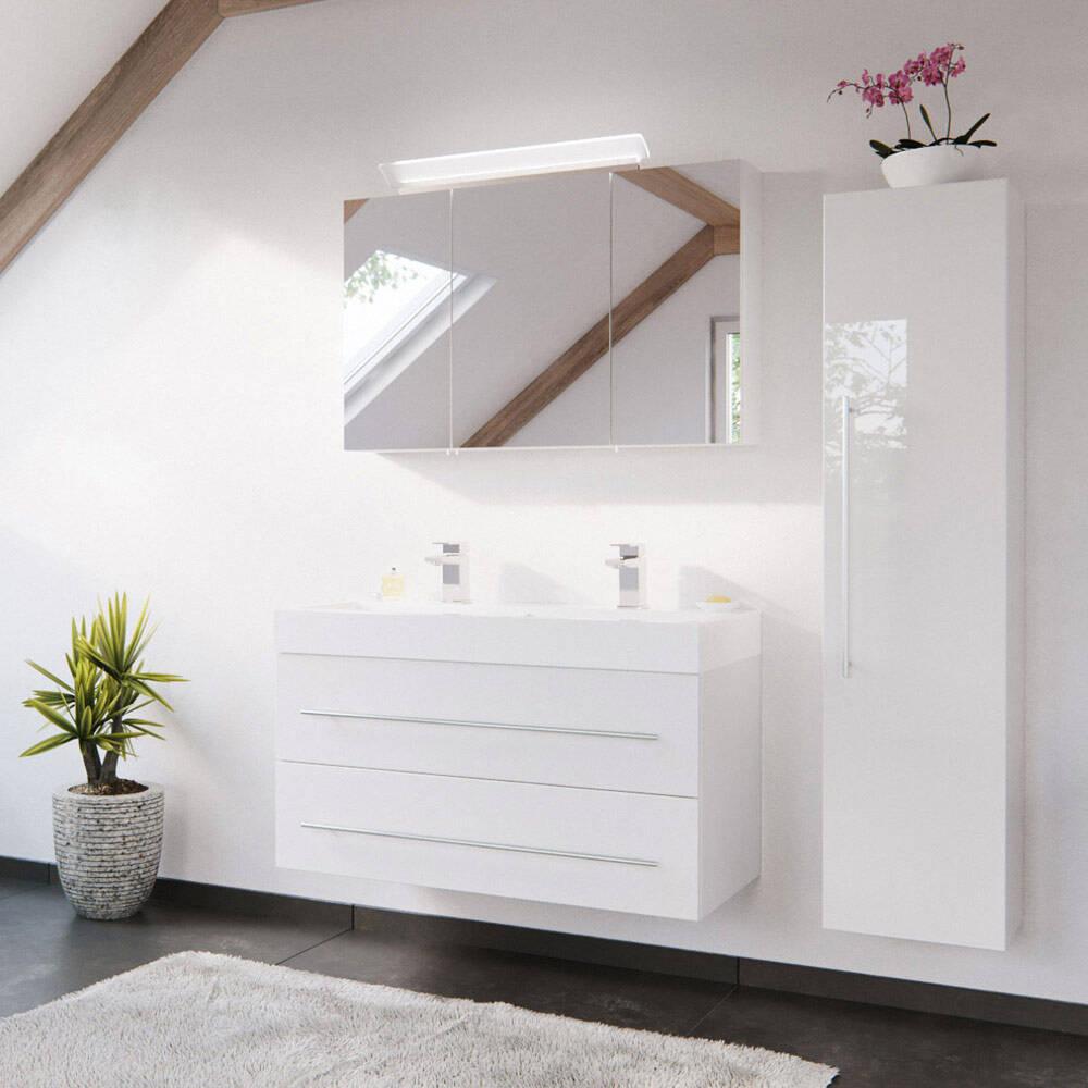 Badmöbel Kombination mit 100cm Doppel-Waschtisch in weiß Hochglanz LISSABON-02 - B/H/T: 150/200/48cm