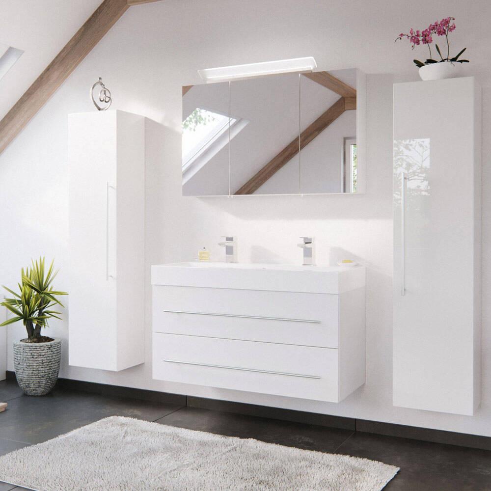 Bad-Möbel-Set mit 100cm Doppel-Waschtisch in Hochglanz weiß LISSABON-02 - B/H/T: 200/200/48cm