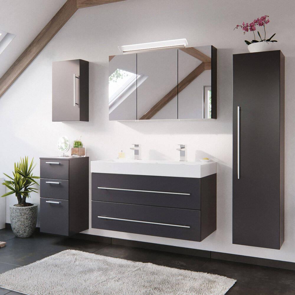 Badmöbel in anthrazit mit 100cm Doppel-Waschtisch LISSABON-02 - Gesamtmaß B/H/T: 200/200/48cm