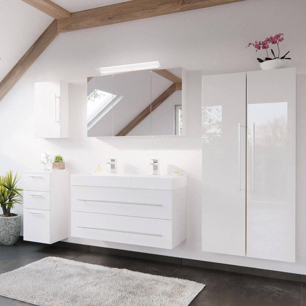 Badmöbel-Set in weiß Hochglanz mit 100cm Doppel-Waschtisch LISSABON-02 - B/H/T: 250/200/48cm