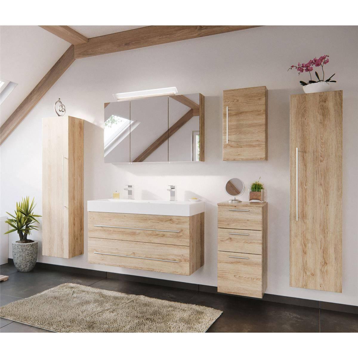Badezimmer Set mit 100cm Doppel-Waschtisch LISSABON-02 - in Eiche hell - Gesamtmaß B/H/T: 250/200/48cm