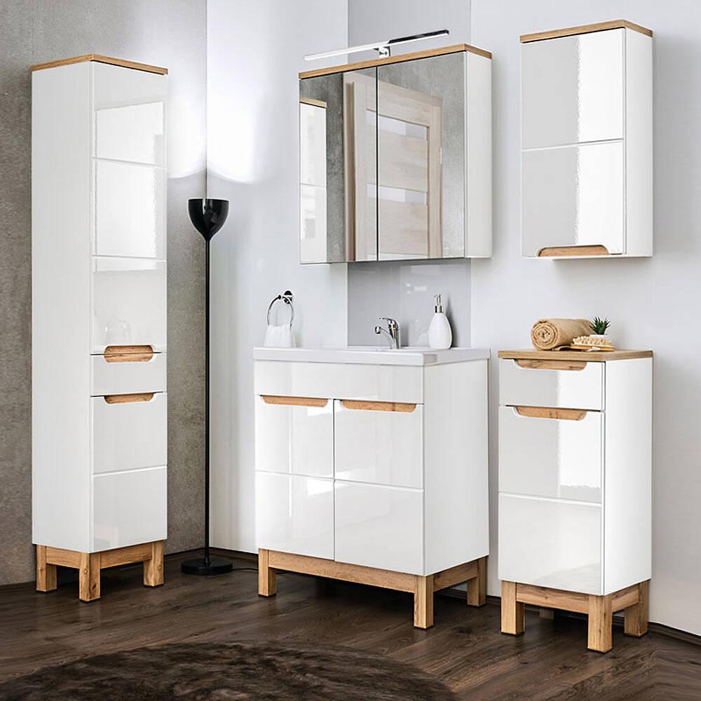 Komplett Badmöbel Set mit 60cm Keramikwaschtisch & LED-Spiegelschrank SOLNA-56 in Hochglanz weiß, B/H/T ca.: 160/200/46 cm