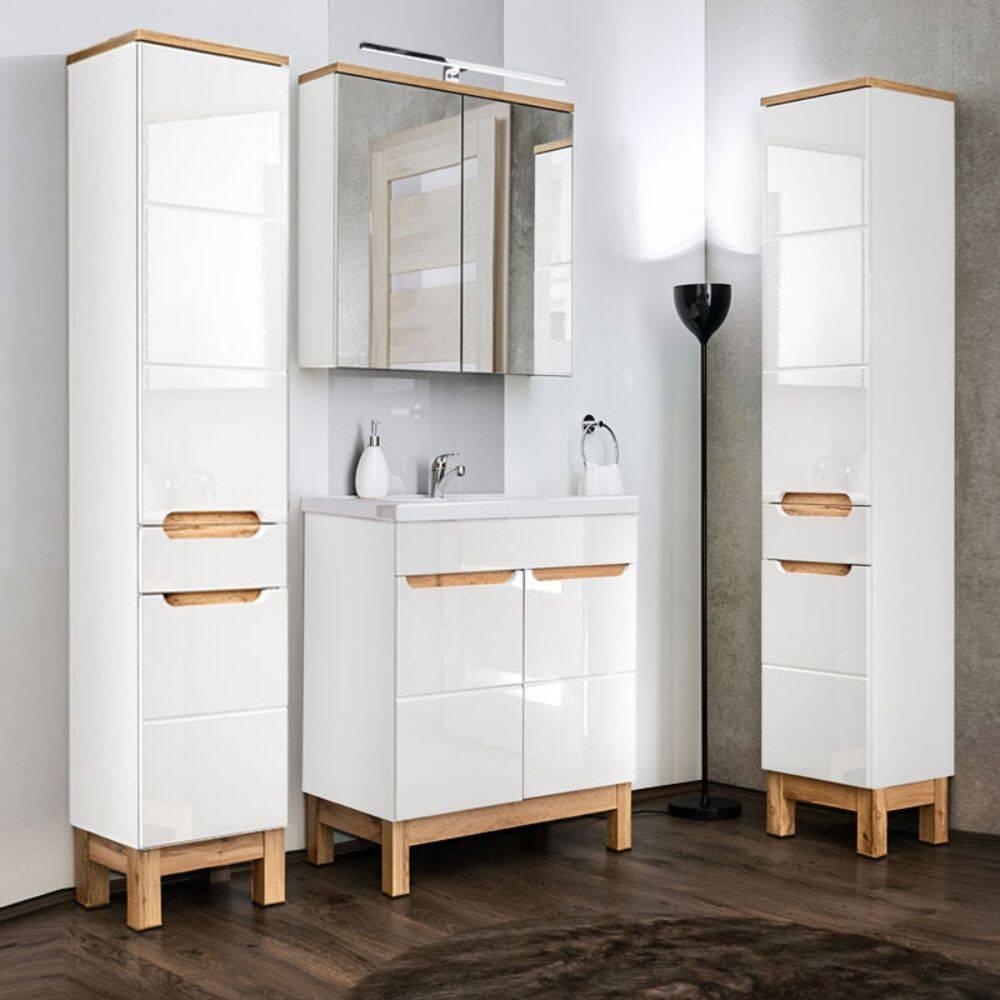 Badmöbel Set mit 60cm Keramikwaschtisch & LED-Spiegelschrank SOLNA-56 in Hochglanz weiß, 2 Hochschränke, B/H/T ca.: 160/200/46 cm