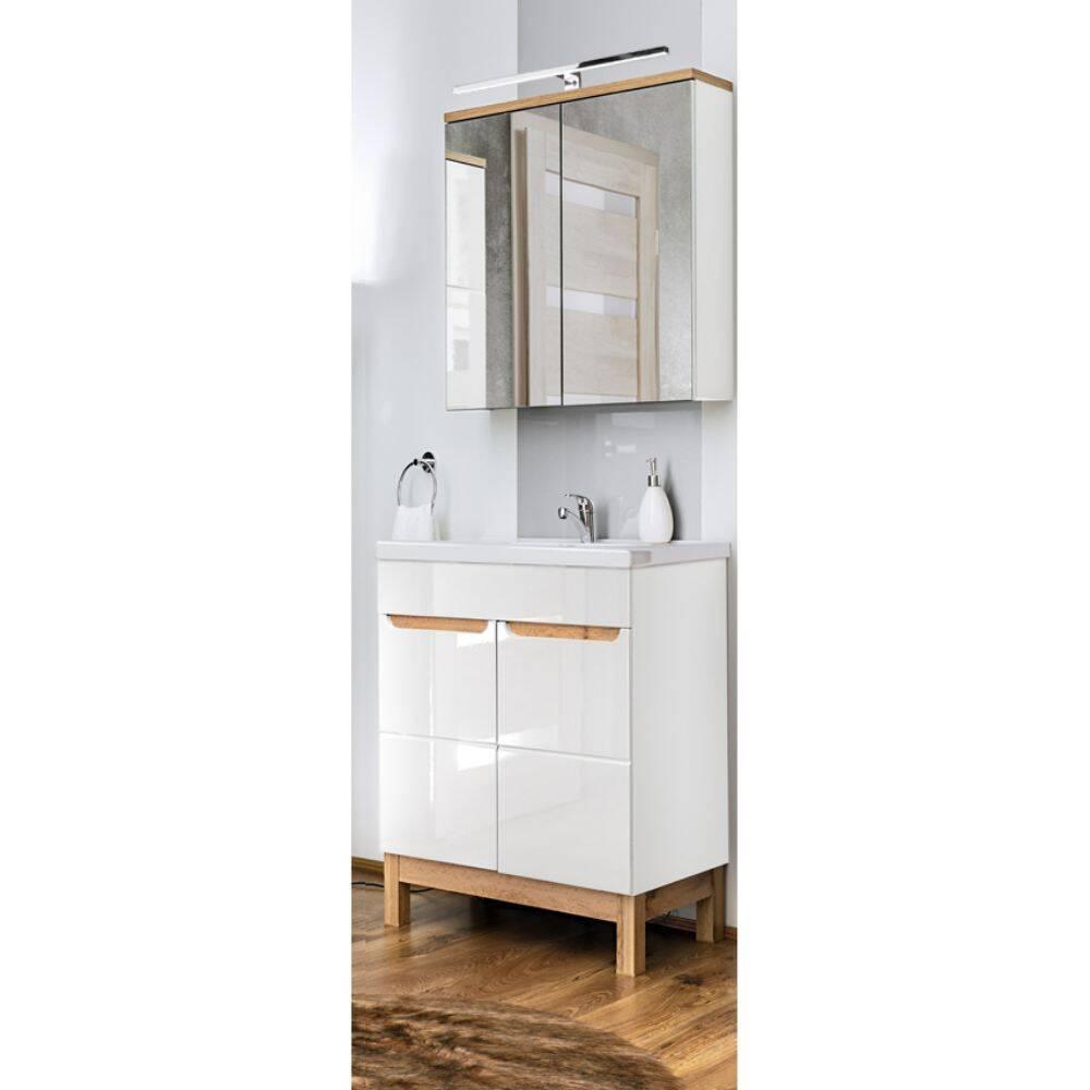 Badmöbel Waschplatz Set mit 60cm Waschtisch & LED-Spiegelschrank SOLNA-56 in Hochglanz weiß, B/H/T ca.: 60/200/46 cm