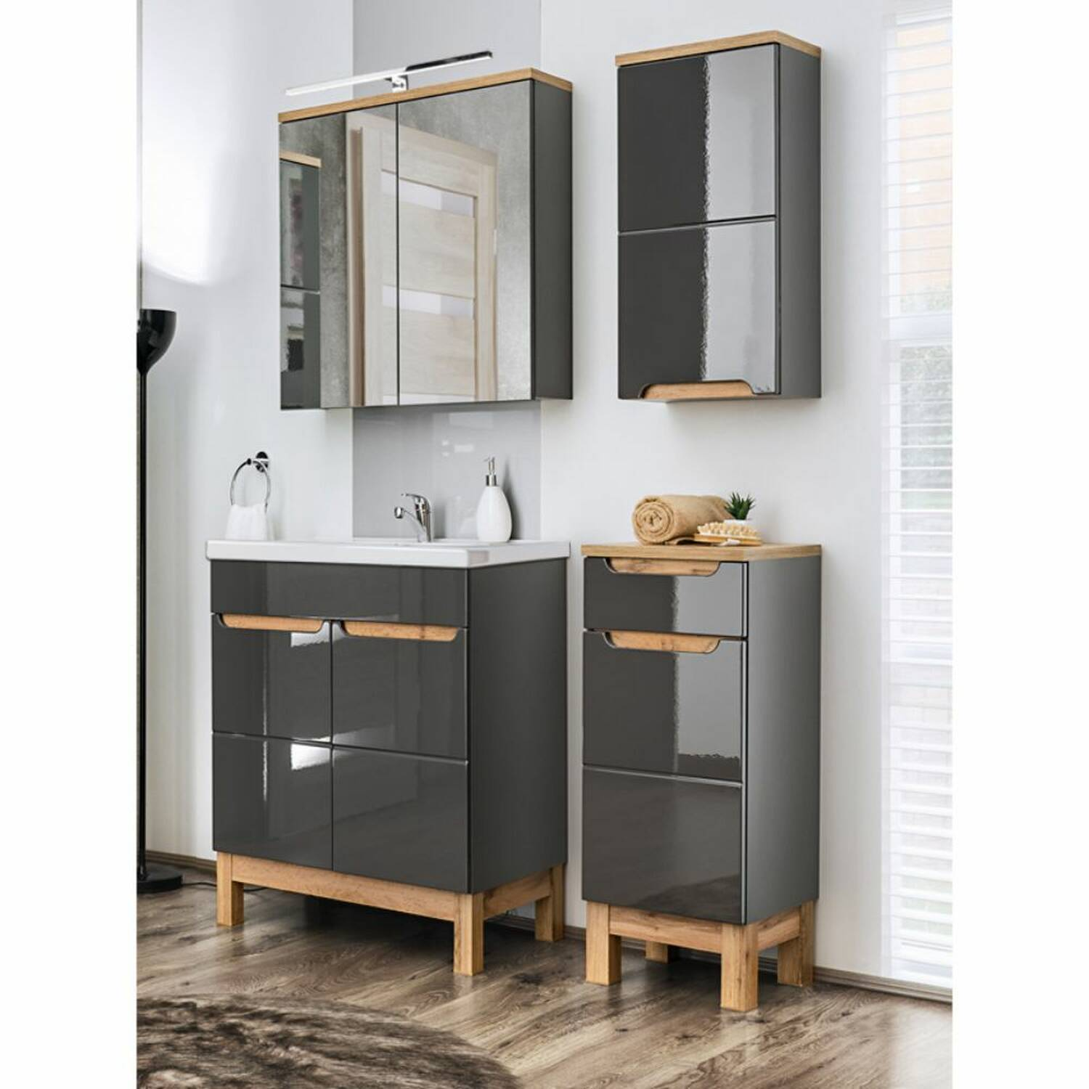 Badezimmermöbel Set mit Waschtisch mit Keramik-Becken SOLNA-56 in Hochglanz grau, B/H/T ca.: 110/200/46 cm