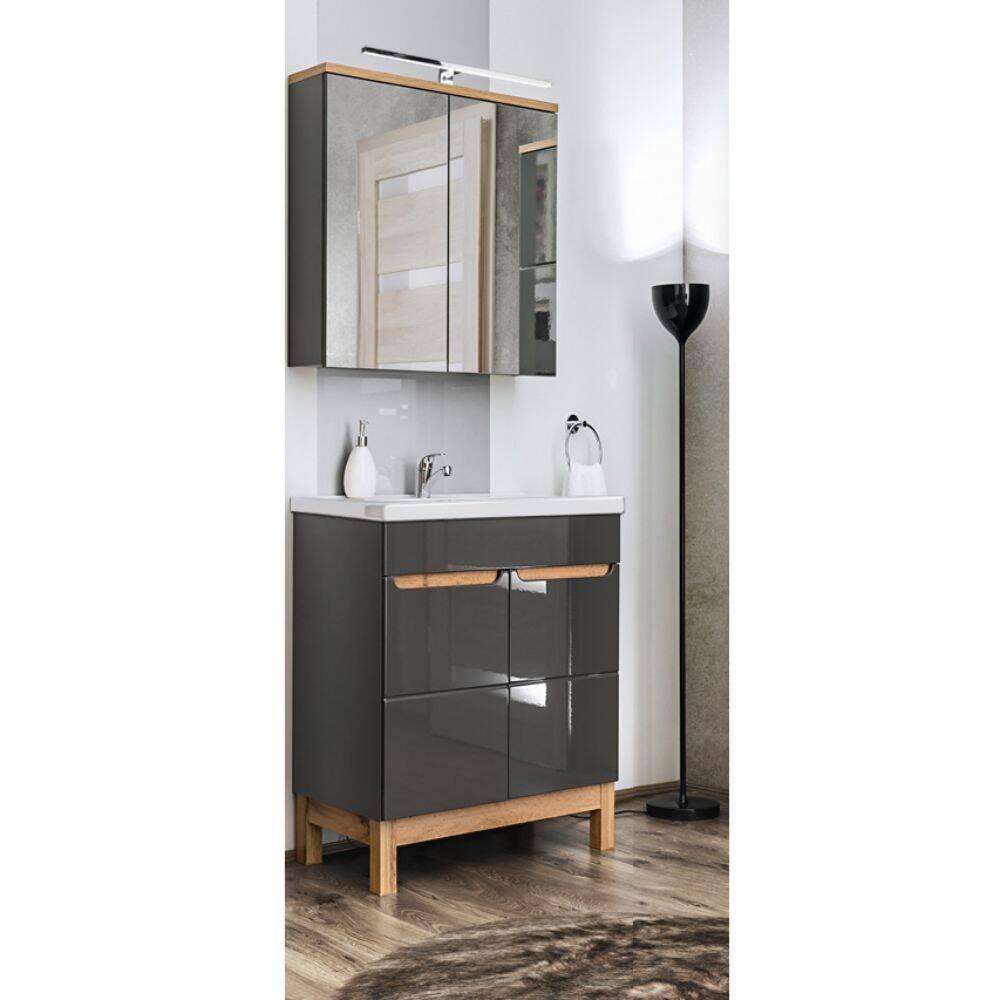 Badmöbel Waschplatz Set mit 60cm Keramik-Waschtisch & LED-Spiegelschrank SOLNA-56 in Hochglanz grau mit Eiche, B/H/T ca.: 60/200/46 cm