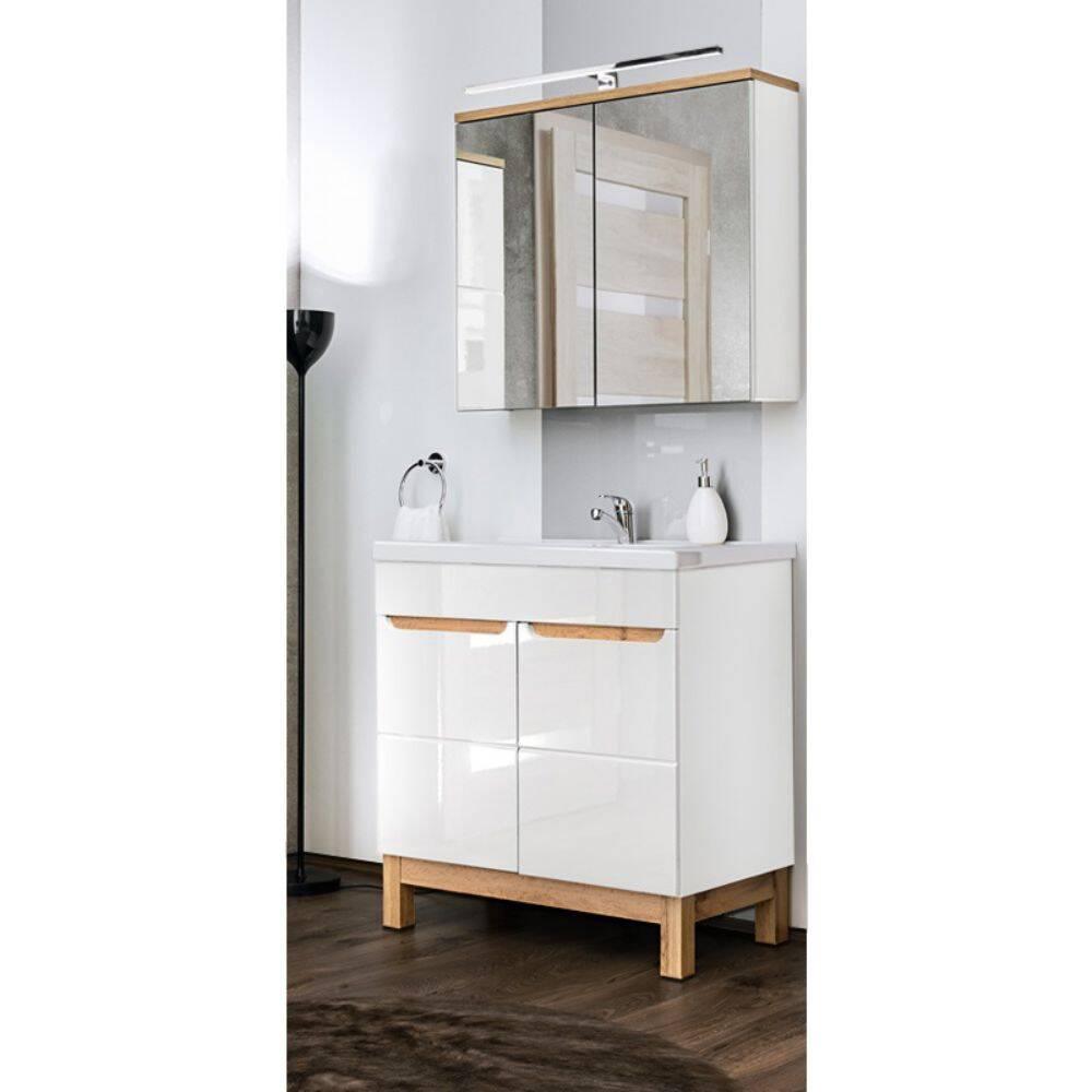 Badmöbel Waschplatz Set mit 80cm Waschtisch & LED-Spiegelschrank SOLNA-56 in Hochglanz weiß, B/H/T ca.: 80/200/46 cm