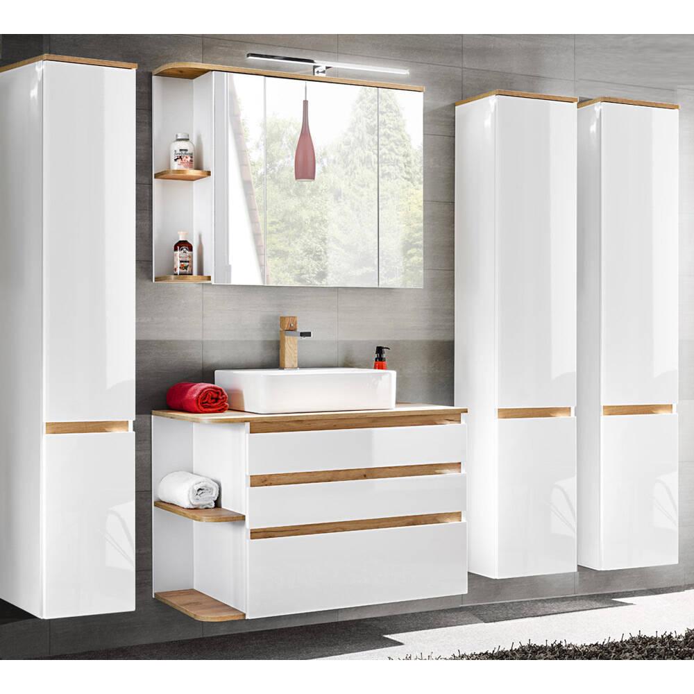Badmöbel-Set mit Keramik-Waschtisch CAMPOS-56, Hochglanz weiß mit Wotaneiche, 3 Hochschränke B/H/T ca. 244/200/50 cm