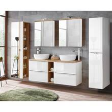 Wooden vanity top 140cm TOSKANA-56 in white high gloss B...