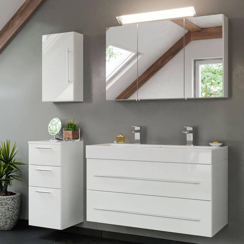 Badmöbel Komplett-Set mit Mineralguss Doppel-Waschtisch in weiß Hochglanz LISSABON-02 B/H/T: 150/200/48cm