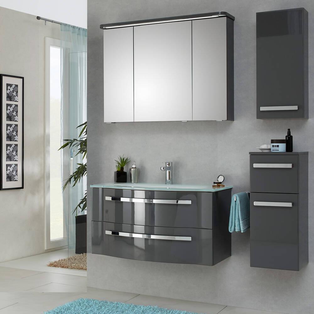 Badezimmermöbel Set mit 92cm Glaswaschtisch FES-4005-66 steingrau lackiert, B/H/T: 137/200/49,1cm