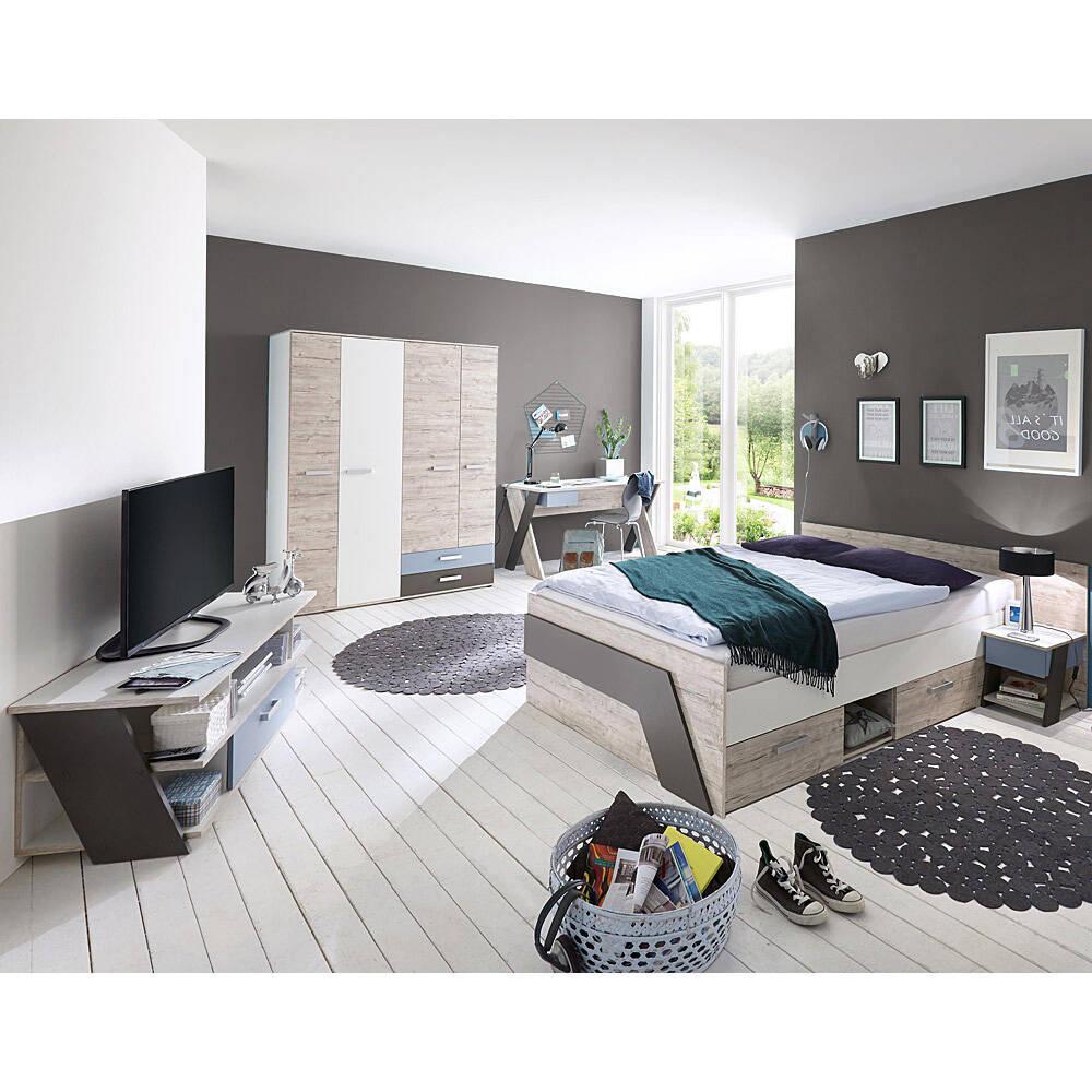 Jugendzimmer Set mit Bett 140x200 cm 5-teilig mit KleiderschrankLEEDS-10 in Sandeiche Nb. mit weiß, Lava und Denim Blau