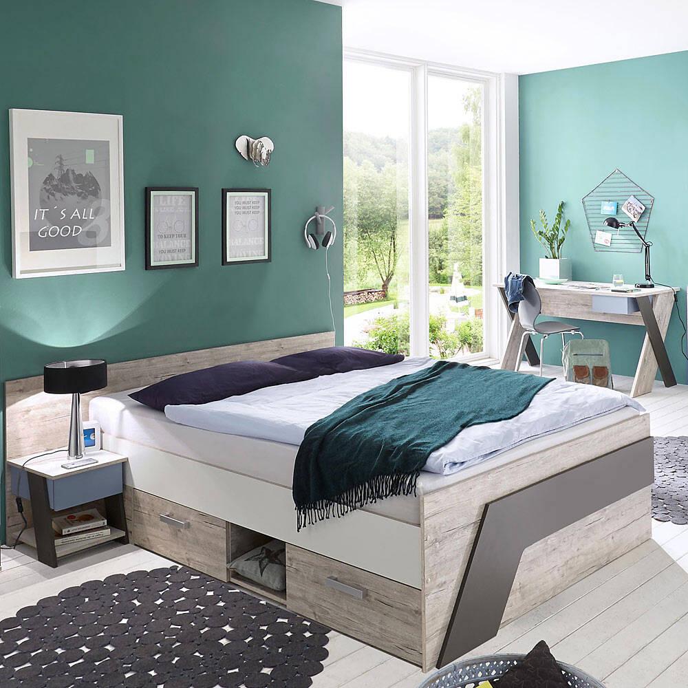 Jugendzimmer Set mit Bett 140x200 cm mit Schreibtisch 3-teilig LEEDS-10 in Sandeiche Nb. mit weiß, Lava und Denim Blau