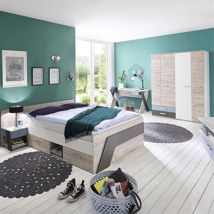 Jugendzimmer Set Mit Bett 140x200 Cm Und Schreibtisch 4 Teilig Leeds 1