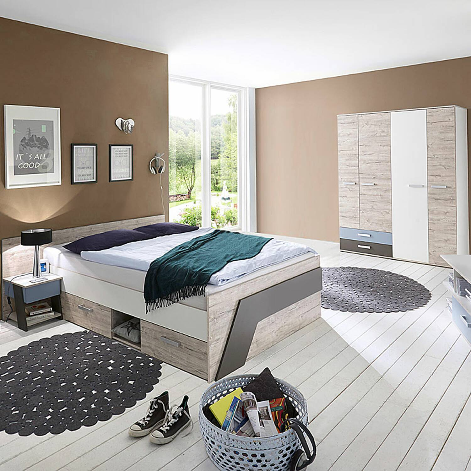Childrens Room Set For Boys In Sand Oak Nb With White Lava 3 Part Leeds 10 And Denim Blue