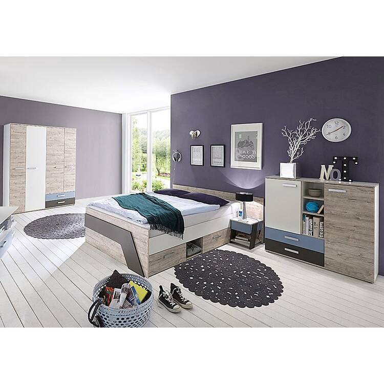 Jugendzimmer Set Mit Bett 140x200 Cm 4 Teilig Leeds 10 In Sandeiche Nb