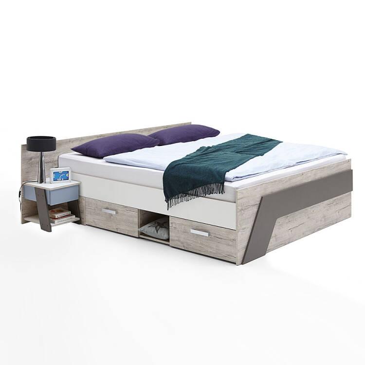 Jugendzimmer Set Mit Bett 140x200 Cm 4 Teilig Leeds 10 In Sandeiche Nb Mit Weiß Lava Und Denim Blau