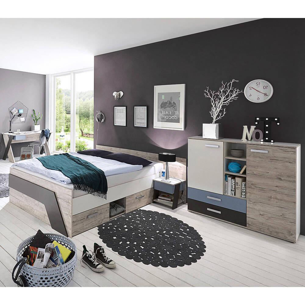 Jugendzimmer mit Bett 140x200 cm und Schreibtisch 4-teilig LEEDS-10 in Sandeiche Nb. mit weiß, Lava und Denim Blau