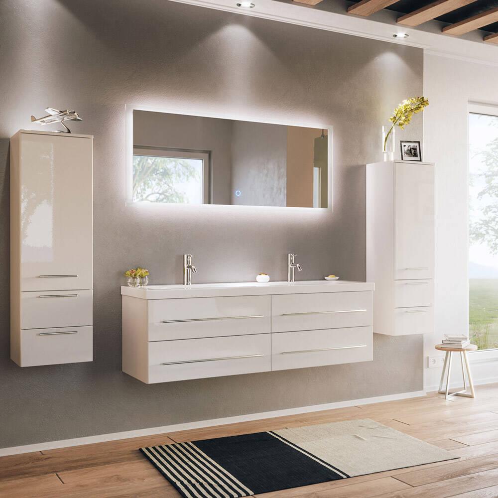Badmöbelset mit Doppelwaschtisch und LED Spiegel MIRAMAR 20 weiss Hochglanz  B/H/T 20/20/20,20cm