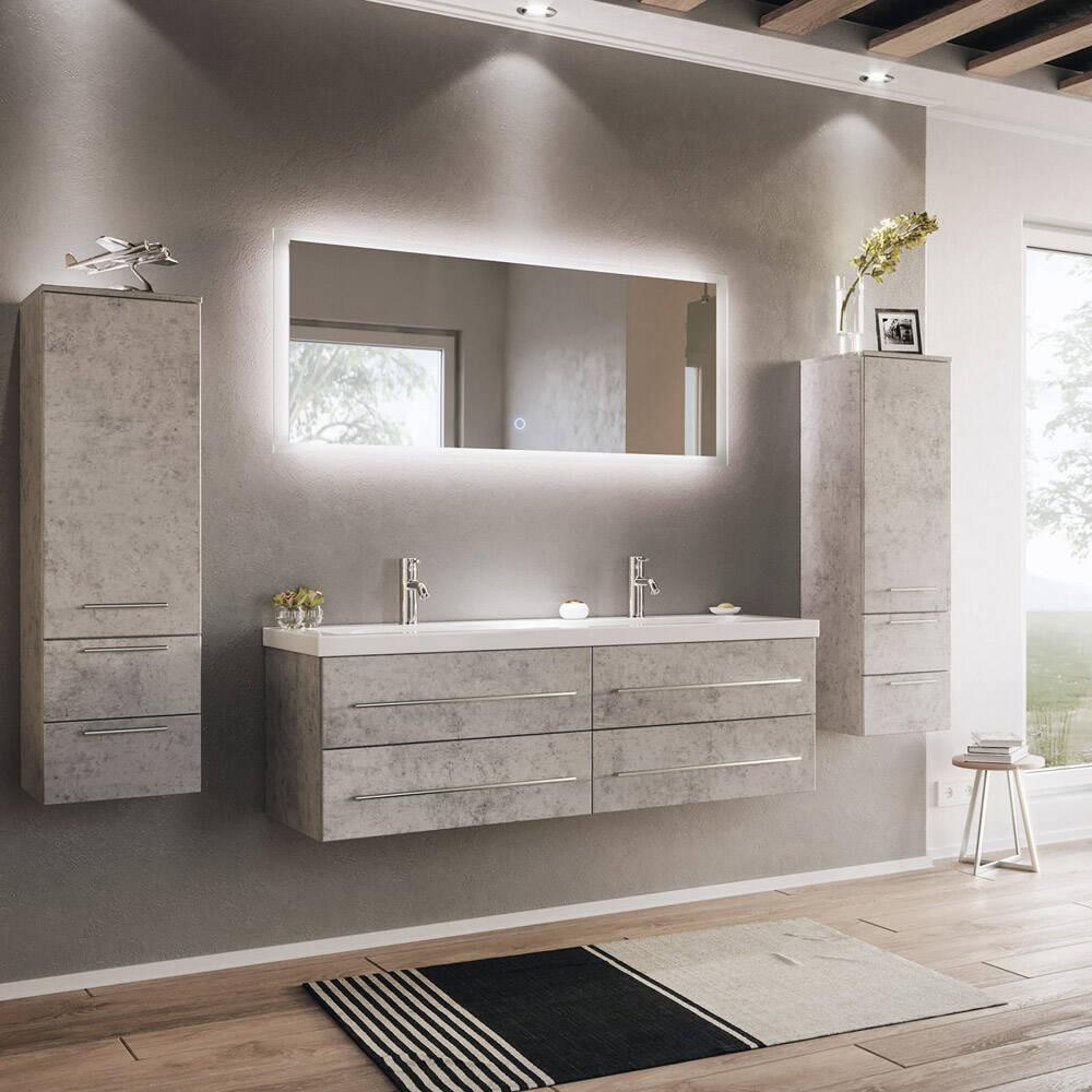 Badezimmer Set Beton-Optik MIRAMAR-115 115cm Doppel-Waschtisch, LED Spiegel  und 115 Hochschränke, B/H/T: 11540/11150/115,15cm