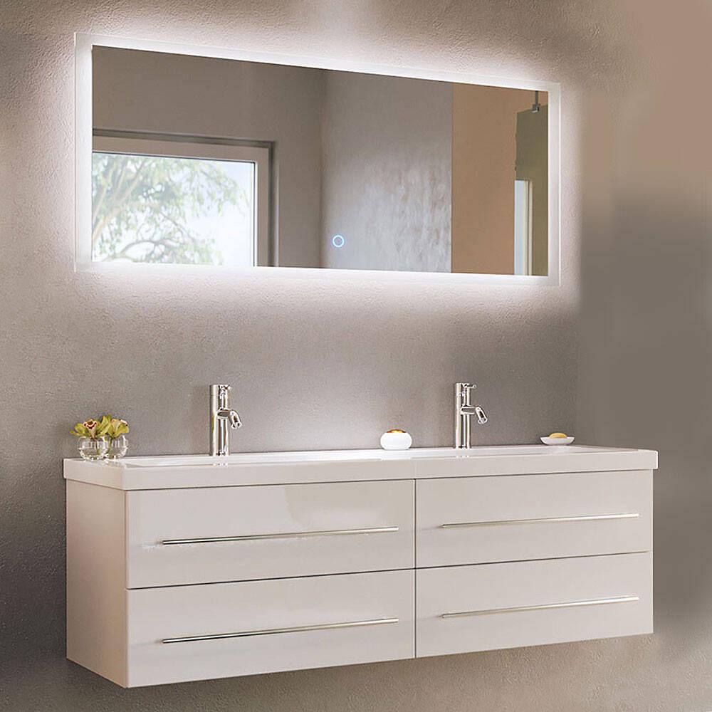 Badezimmerset 2-teilig mit Waschbecken und LED Spiegel MIRAMAR-02 weiss Hochglanz B/H/T: 143/200/50,5cm