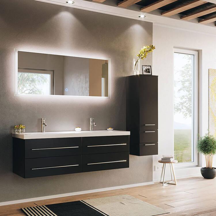 Bathroom Set 3 Pieces With 1 Tall Cabinet Miramar 02 Black Silk Gloss