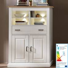 country house highboard showcase incl. lighting LEER-55...