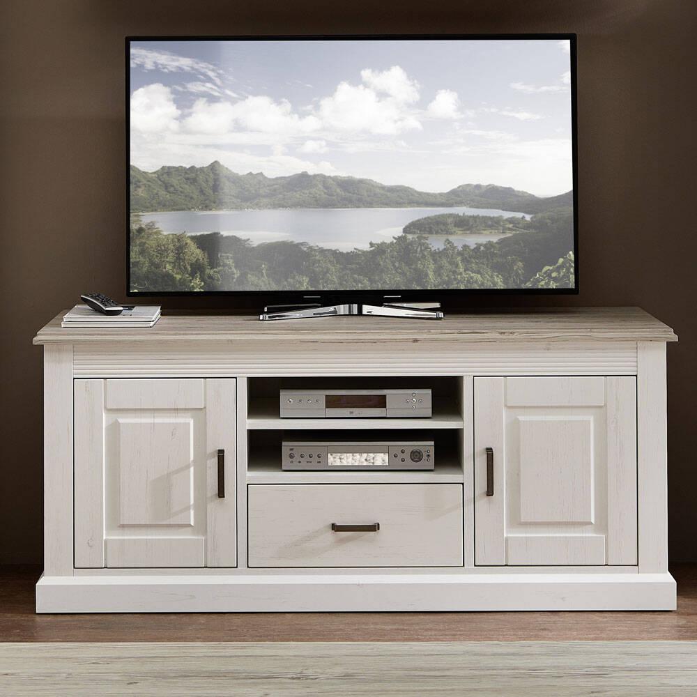 TV-Lowboard im Landhausstil LEER-55 Pinie weiß mit tauope B/H/T ca. 150/65/52cm