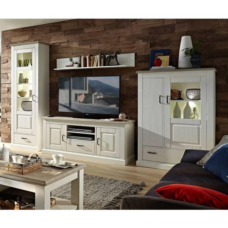 Wohnzimmer Sitzsack Chacos In Weiß Taupe: Landhaus Wandbord LEER-55 In Pinie Weiß Mit Abs. Taupe, B