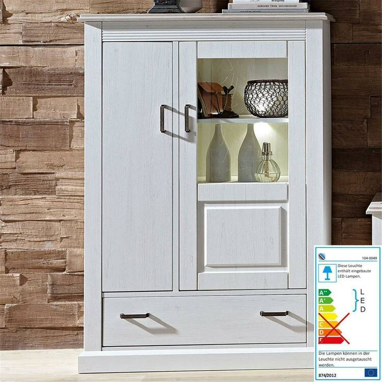Wohnzimmer Sitzsack Chacos In Weiß Taupe: Landhaus Wohnwand Inkl. LED-Beleuchtung LEER-55 In Pinie