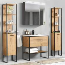 Industrial-Style Bathroom Furniture Set 5 pieces Gold...