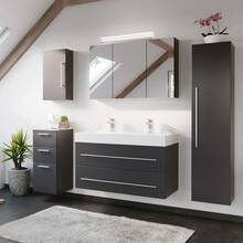 Double washbasin 100cm in anthracite LISSABON-02 - W/H/D:...