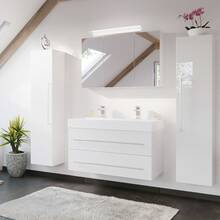 Double washbasin 100cm in white high gloss LISSABON-02 -...