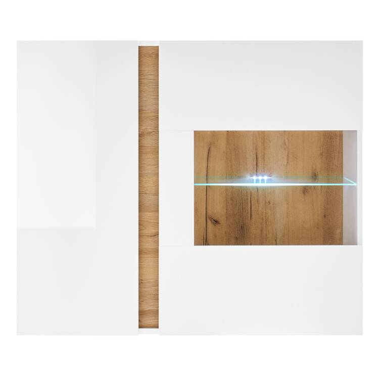 Wall cabinet with LED lighting CELLE-61 in high-gloss white and Grandson Oak oak color, W / H / D approx. 97/83/40 cm