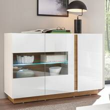 Showcase sideboard CELLE-61 in high gloss white and...