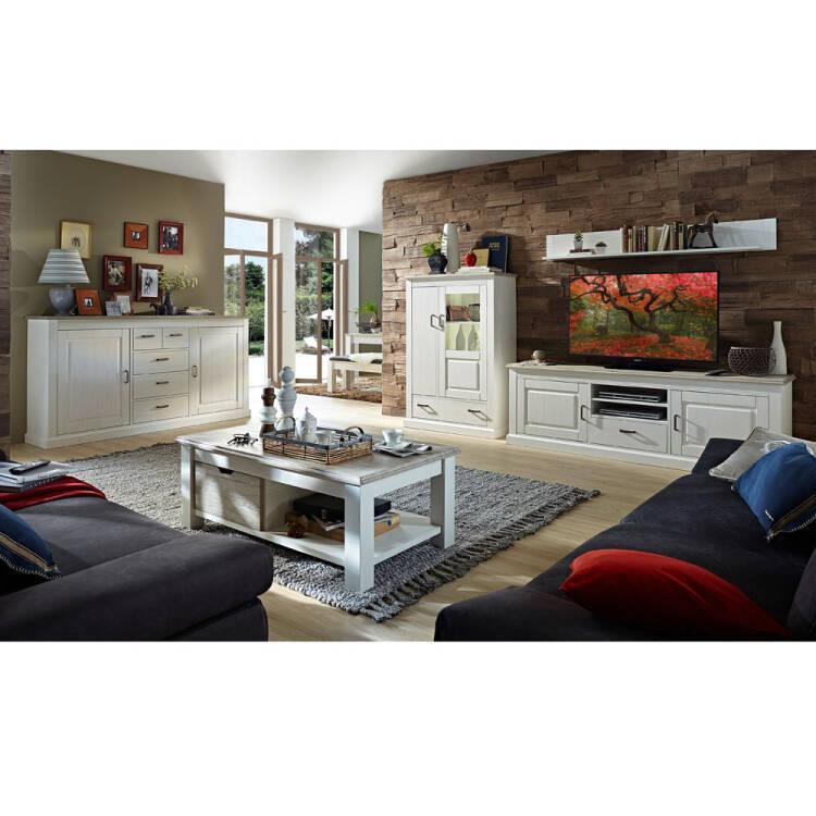 Wohnzimmer Sitzsack Chacos In Weiß Taupe: Wohnwand Im Landhausstil Inkl. Sideboard & Couchtisch LEER