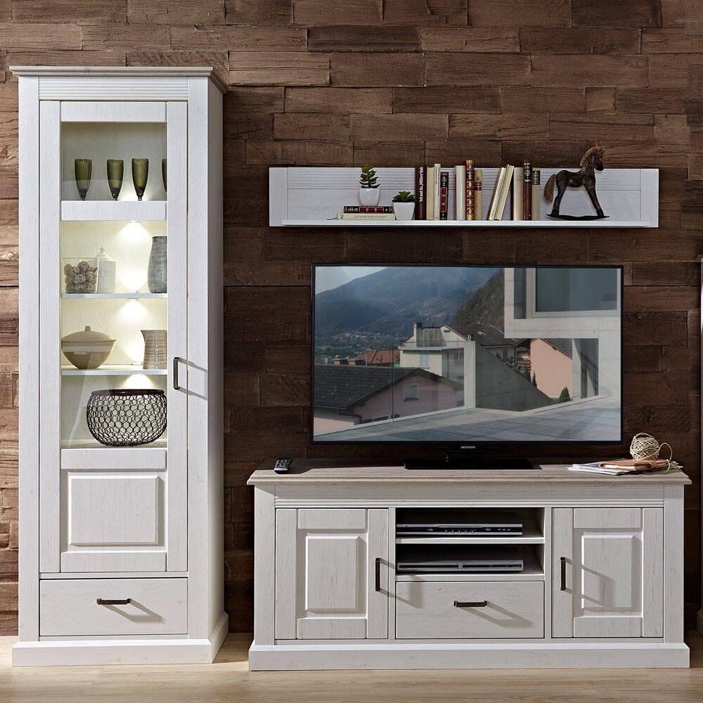 Landhaus TV-Media Wohnwand inkl. LED-Beleuchtung LEER-55 in Pinie weiß mit Abs. taupe, B/H/T ca. 264/180/52cm