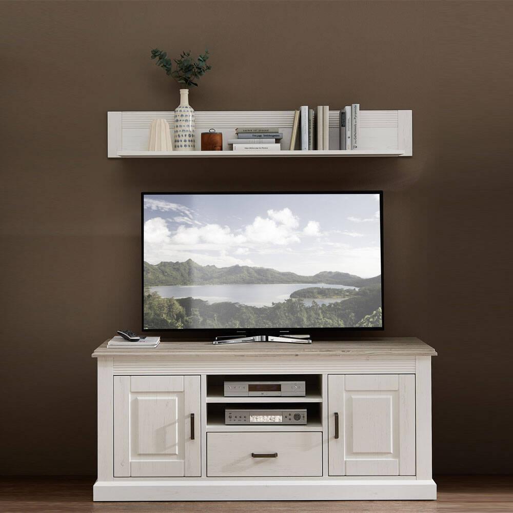 Landhaus TV-Lowboard mit Wandregal LEER-55 in Pinie weiß mit taupe Absetzungen, B/H/T ca. 150/170/52cm