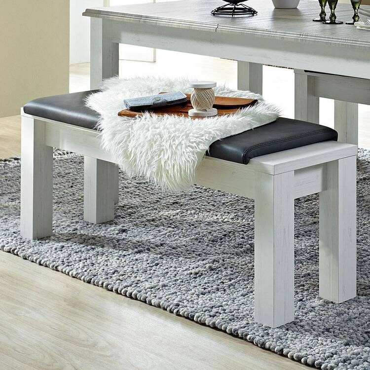 Country House Dining Room Table Set In Pine White With Abs Taupe Leer