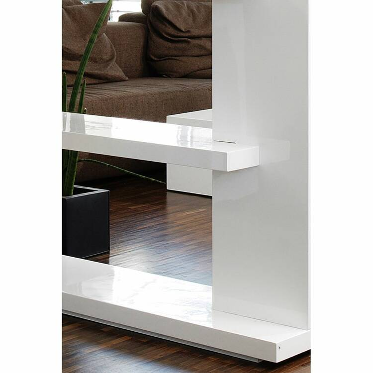Wohnzimmer Raumteiler Regal weiß Hochglanz, B/T/H: 128/30 ...